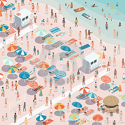Crowded colorful beach