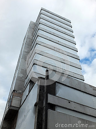 Abandoned old concrete highrise building