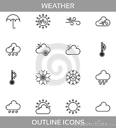 Simple Set ofweather Related Vector LineIcons. Contains suchIconsassun, cloud, storm, snow, wind, rain and more