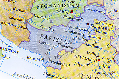 stock image of geographic map of pakistan with important cities