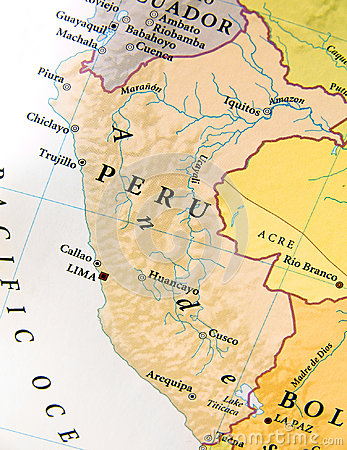 stock image of geographic map of peru with important cities