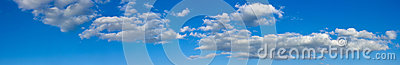 Blue sunny sky with white clouds landscape banner
