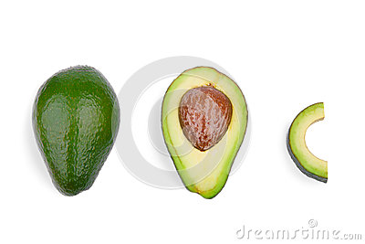A group of three fresh avocados, isolated on a white background. Organic vegetables. Healthful lifestyle.
