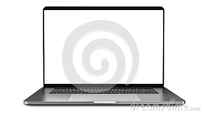 Laptop with blank screen isolated on white background, white aluminium body.