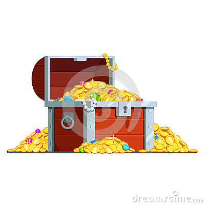 Open pirate treasure chest full of gold coins