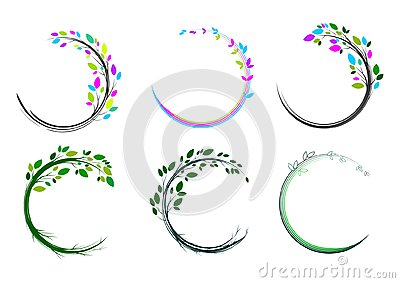 Leaf circle logo,spa,massage,grass,icon,plant,education,yoga,health, and nature concept design