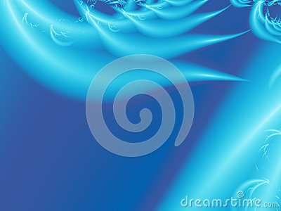 Blue modern abstract fractal art. Unique background illustration with stylized feather or wing shapes. Creative graphic template f