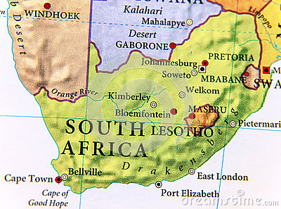 stock image of geographic map of south africa with important cities