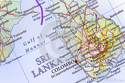 stock image of geographic map of sri lanka with important cities