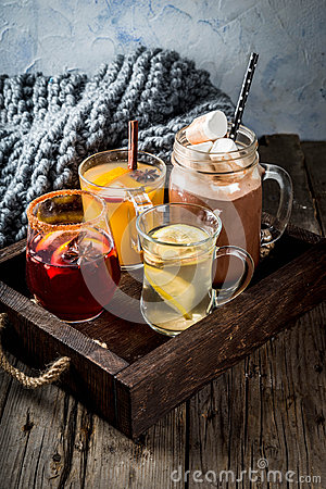 stock image of set of 4 autumn drinks