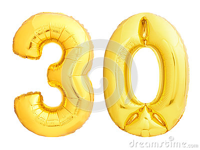 Golden number 30 thirty made of inflatable balloon