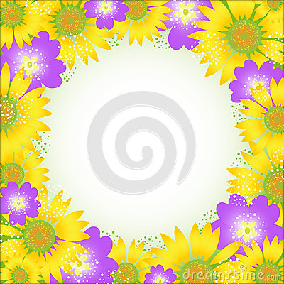 Summer flower frame. Vector illustration.