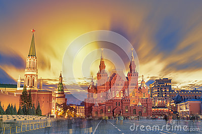 Sunset view of the Red Square, Moscow Kremlin, Lenin mausoleum, historican Museum in Russia. World famous Moscow landmarks for tou