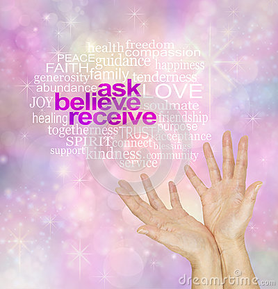 Ask Believe Receive - The Law of Attraction Word Cloud