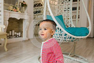 Portrait of a cute little African American boy smiling