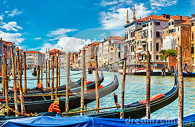 Grand canal in Venice with gondola boat