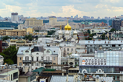 Moscow, Russia - July 25.2017. City landscape of center with temple