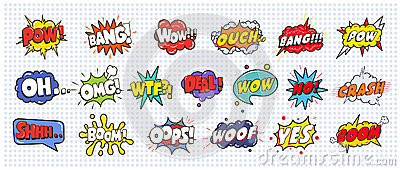 Comic sound speech effect bubbles set on white background illustration. Wow, pow, bang, ouch, crash, woof, no
