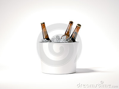 Blank ice bucket with beer bottles. 3d rendering