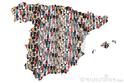 Spain map multicultural group of people integration immigration