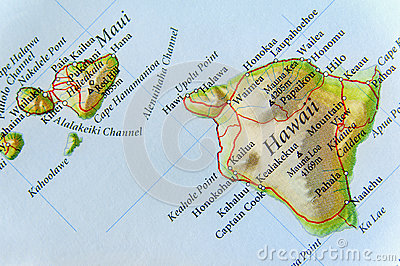 stock image of geographic map of us state hawaii and important cities