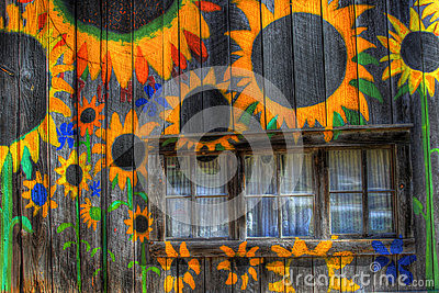 Barn Painted With Sunflowers
