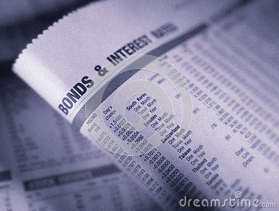 Financial page showing bonds and interest rates