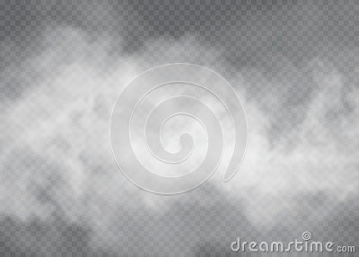 Fog or smoke transparent special effect. White cloudiness, mist or smog background. Vector illustration