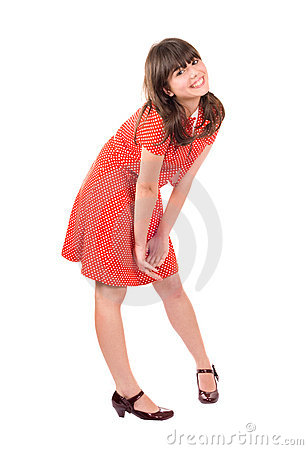 Pretty brunette girl smiling, isolated on white