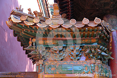An ornate painted roof on a building in the Forbidden City in Beijing