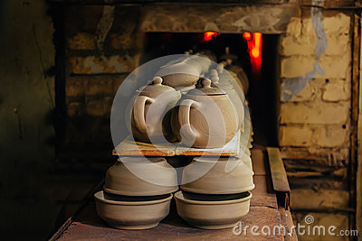 Firing of pottery in the oven