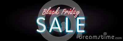 Black Friday sale neon style heading design for banner or poster