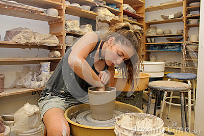 Working in the Pottery Studio