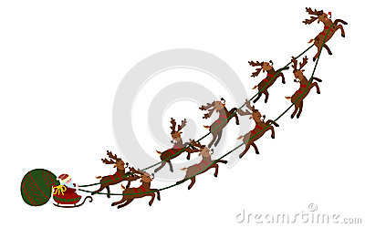 Flying Santa in a sleigh with deer. Christmas illustration of Santa Claus in a cart and a bag of gifts. New Year