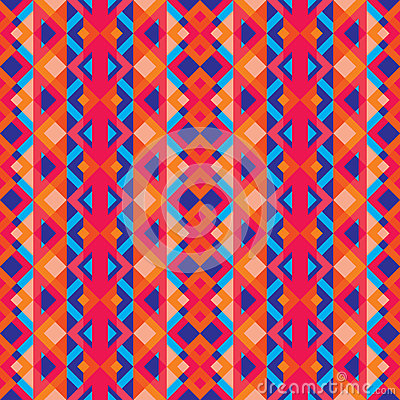 Abstract geometric background - seamless vector pattern in red, oink and blue colors. Ethnic boho style. Mosaic ornament structure