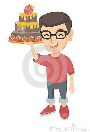 Little caucasian boy holding a chocolate cake.