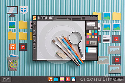 stock image of graphic design software