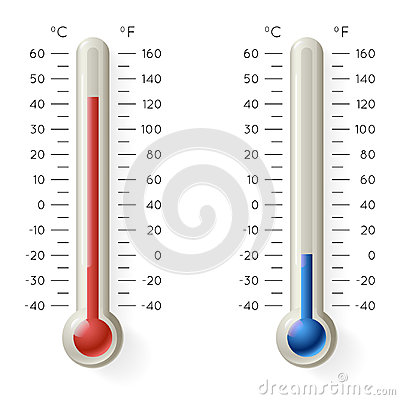 Meteorology Thermometer Temperature Celsius Fahrenheit Degree Hot Cold Weather Symbol Icons 3d Realistic Vector