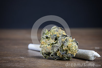 Close Up Of High-Quality Potent Marijuana Bud With Weed