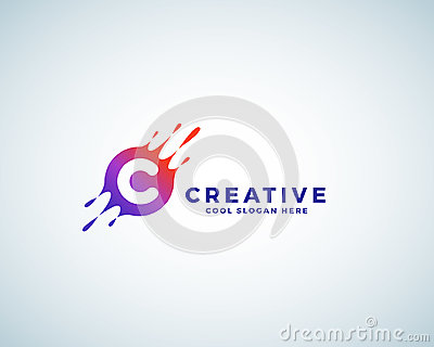 Letter C Incorporated in Colorful Gradient Blot with Splashes. Abstract Vector Sign, Emblem or Logo Template. Creative