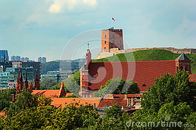Church of St. Anne and Gediminas Tower in Vilnius, Lithuania