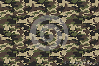 Camouflage seamless pattern background. Horizontal seamless banner. Classic clothing style masking camo repeat print. Green brown
