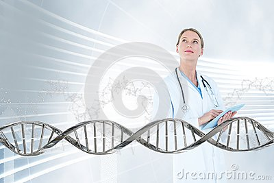 Doctor woman looking up with 3D DNA strand