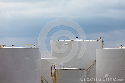 Cluster of petroleum products storage tanks
