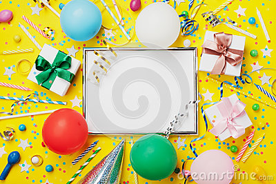 Party or birthday background. Silver frame with balloon, gift, carnival cap, confetti, candy and streamer. Holiday mockup.