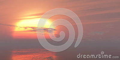 Red sunset or sunrise sea waves bright colorful background