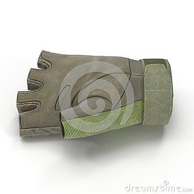 Soldier outdoor cycling ride tactical military short finger glove on white. Side view. 3D illustration