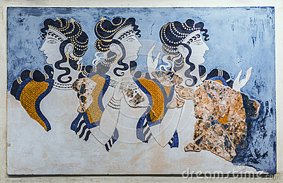 `Ladies in blue` fresco from Knossos Palace. The archaeological Museum in Heraklion, Crete