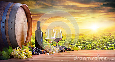 Wine Glasses And Bottle With Barrel In Vineyard