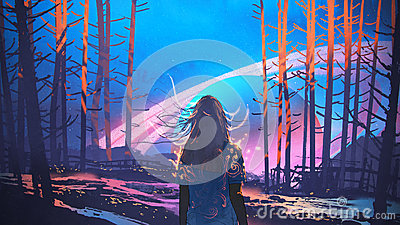 Woman standing alone in forest with fictional background